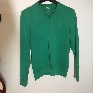 Lacoste Sweater Green V-neck Men's Medium